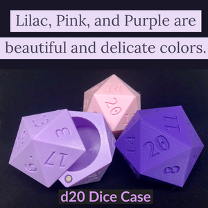 D20 Dice Case Storage Container w Magnetized Lid - Large Fits 13 D6