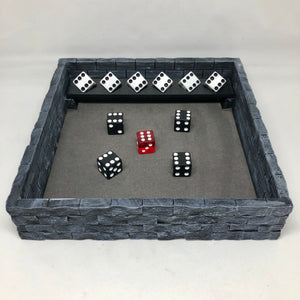 Dice Rolling Tray - Castle Wall with Dice Shelf - 3D Printed Designed by sablebadger