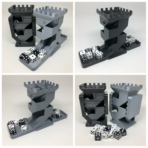 Castle Dice Tower with Folding Dice Trays - Double Sided - 5 1/8