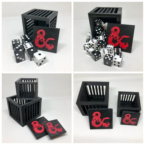 DnD Dice Jail Prison for Misbehaving Dice - 3D Printed - Fits 8-36 Dice - Gift