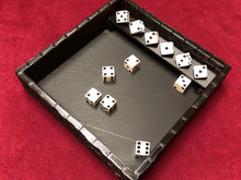 Load image into Gallery viewer, Dice Rolling Tray - Castle Wall with Dice Shelf - 3D Printed Designed by sablebadger