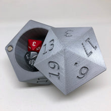 Load image into Gallery viewer, D20 Dice Case Storage Container w Magnetized Lid - Large Fits 13 D6