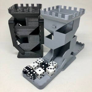 "Castle Dice Tower with Folding Dice Trays - Double Sided - 5 1/8"" tall"
