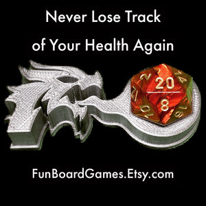 Dragon d20 Holder for Dungeons and Dragons, Magic the Gathering, and other games that use a d20.