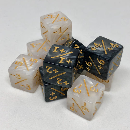 10x Dice Counters for Magic the Gathering and other TCG CCG Games +1/+1 -1/-1   (16mm)