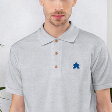 Load image into Gallery viewer, Blue Meeple Embroidered Polo Shirt