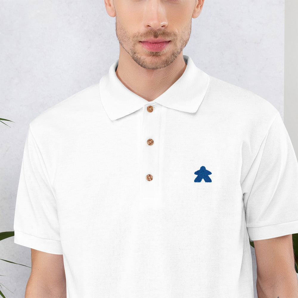 Blue Meeple Embroidered Polo Shirt