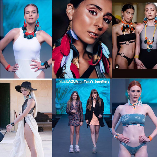 Yana's Jewellery at Malta Fashion Week 2019 pieces on various models