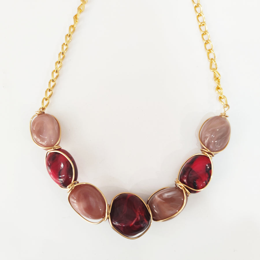 Dusty rose & red beaded necklace