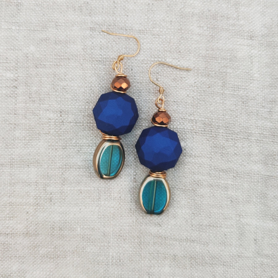 Deep blue & Aqua earrings