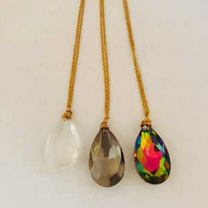 Clear crystal glass long chain stainless steel necklaces
