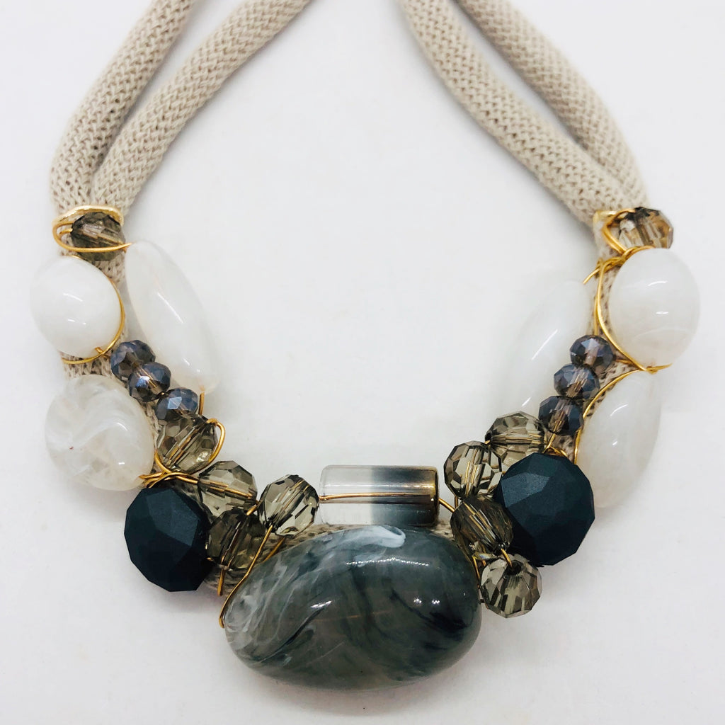 Grey & beige toned statement necklace