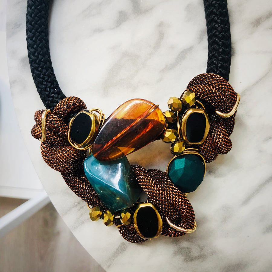 Teal & rust statement necklace