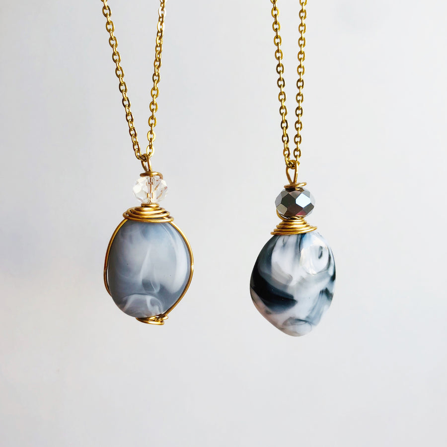 Grey toned chain necklaces