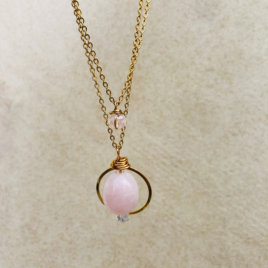 Rose quartz layered necklace