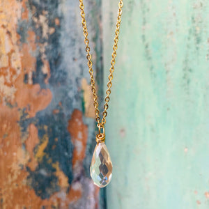 Clear drop stainless steel short necklace