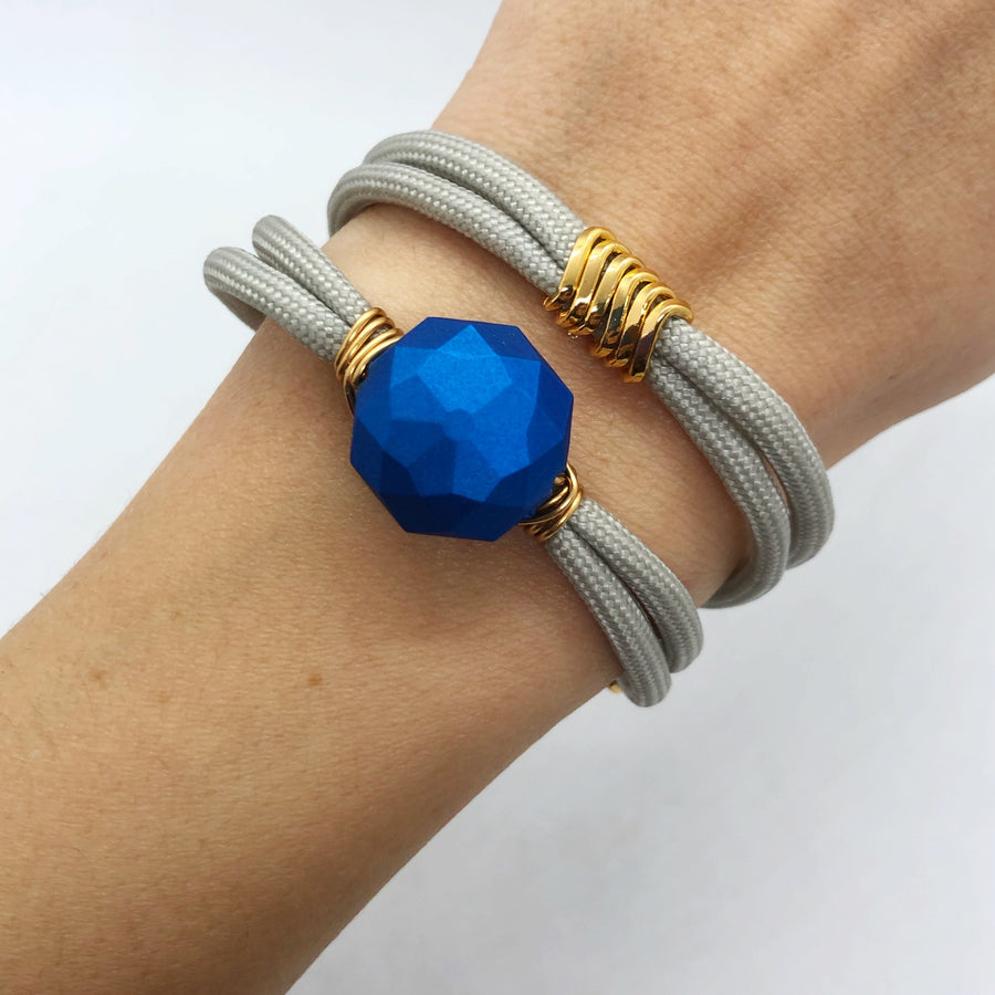 Bright blue & grey wrapover bracelet