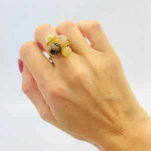 Beige cluster ring  beige & dusty gold beaded ring stainless steel wire Size- S/M