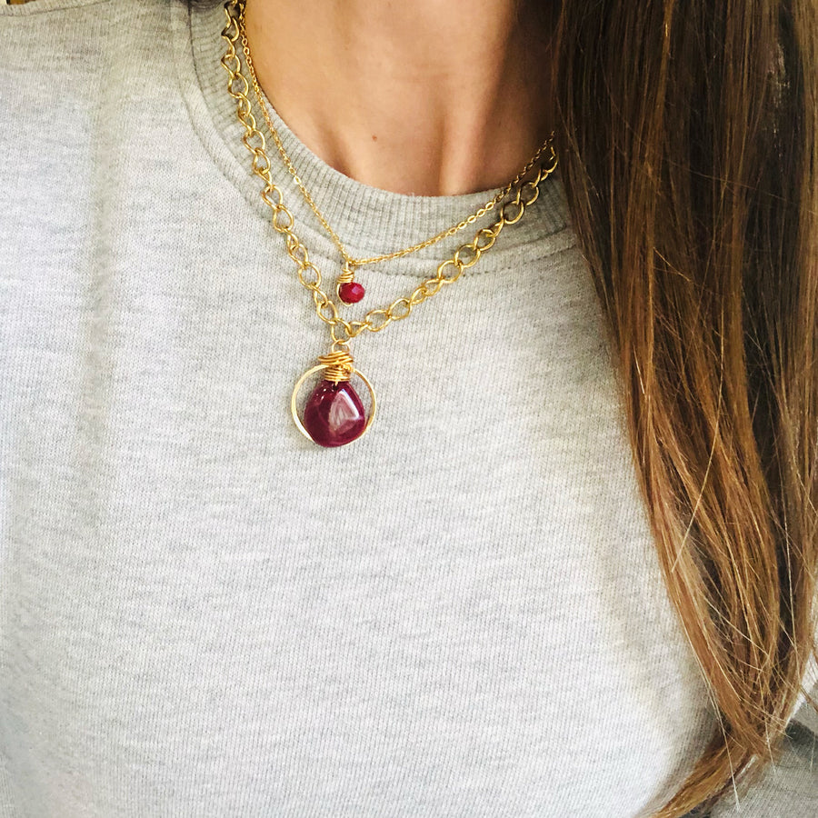 Red layered chain necklaces
