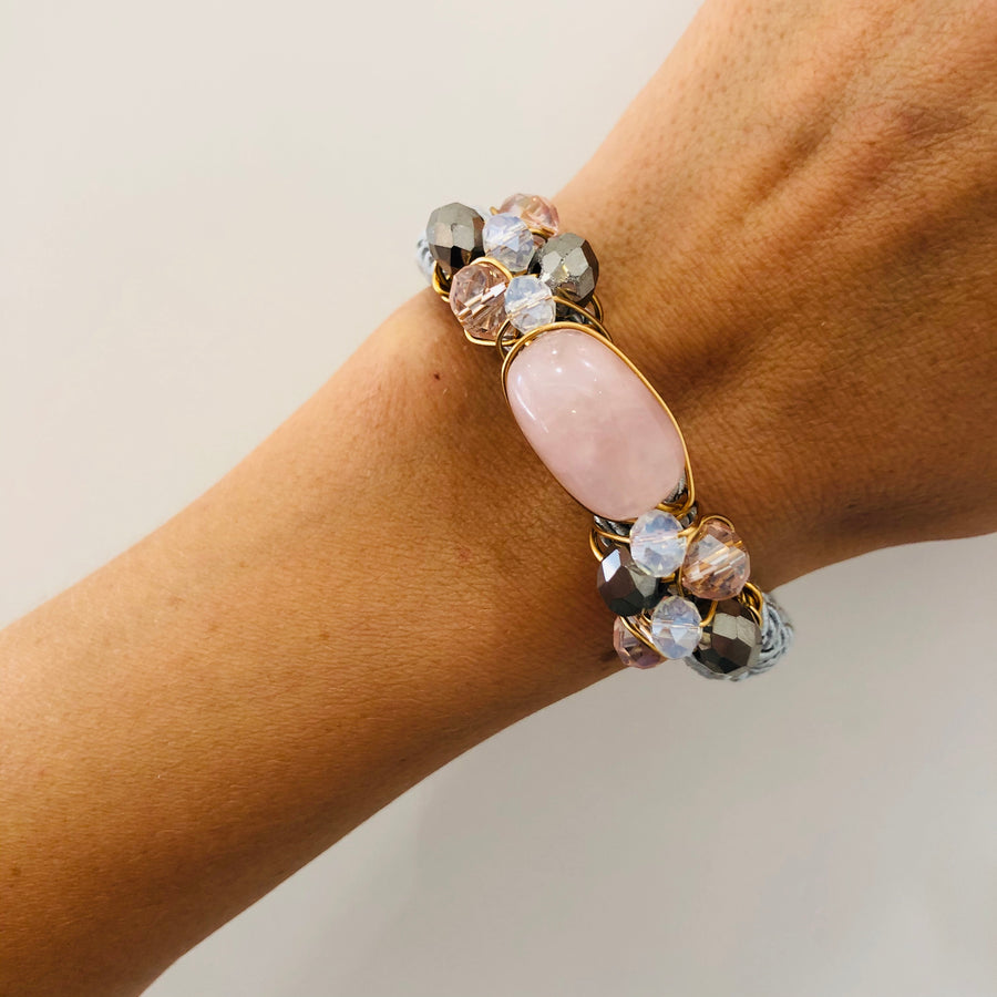 Rose quartz braided bracelet