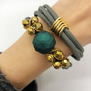 Gold & teal rope bracelet