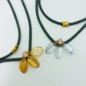 Glass petal layered chokers