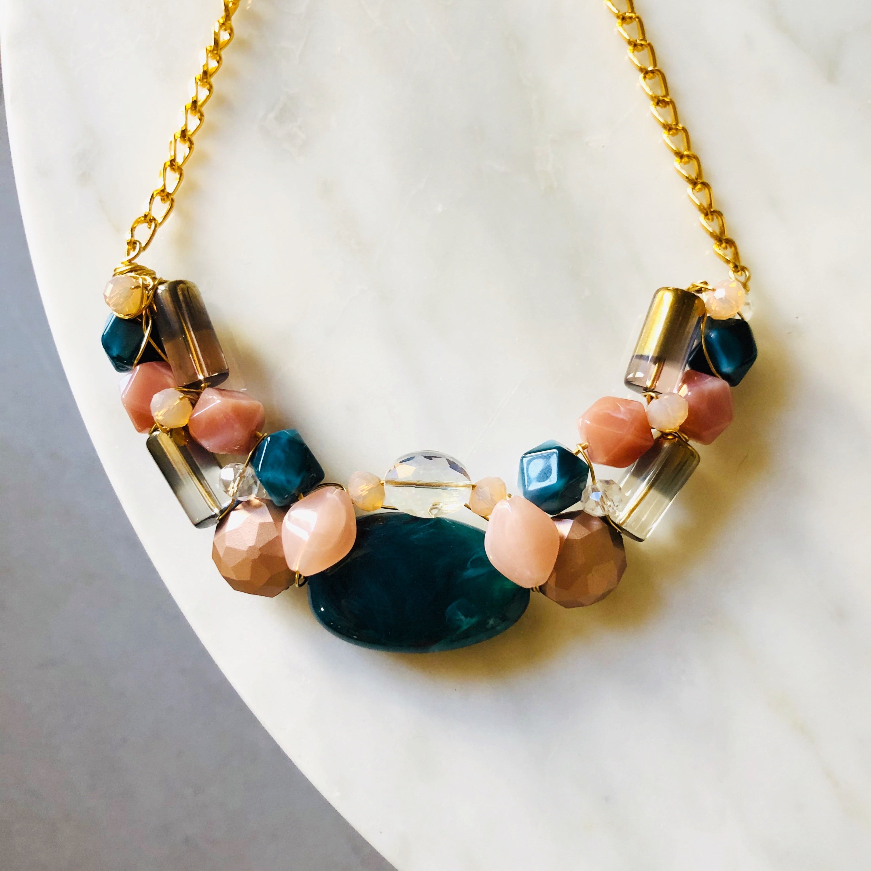 Dusty pink & teal statement necklace