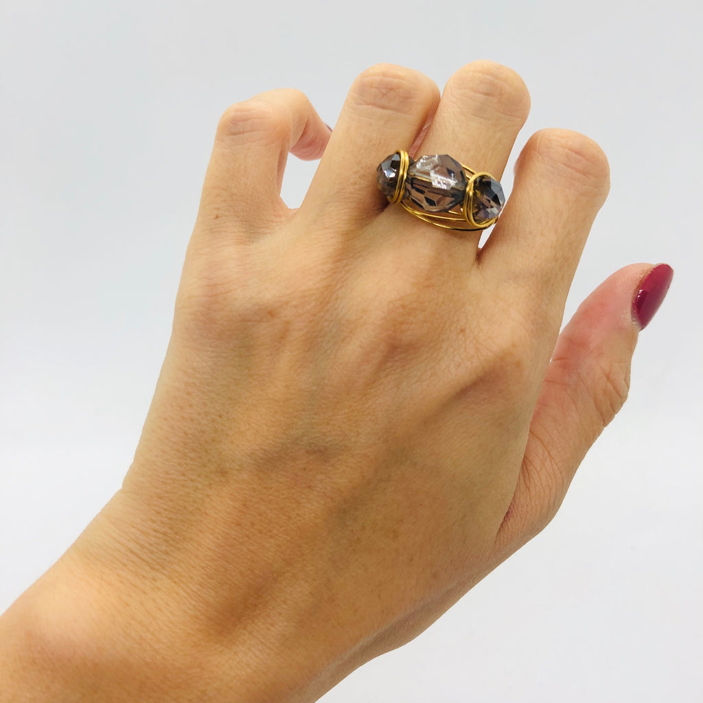 Crystal triple ring