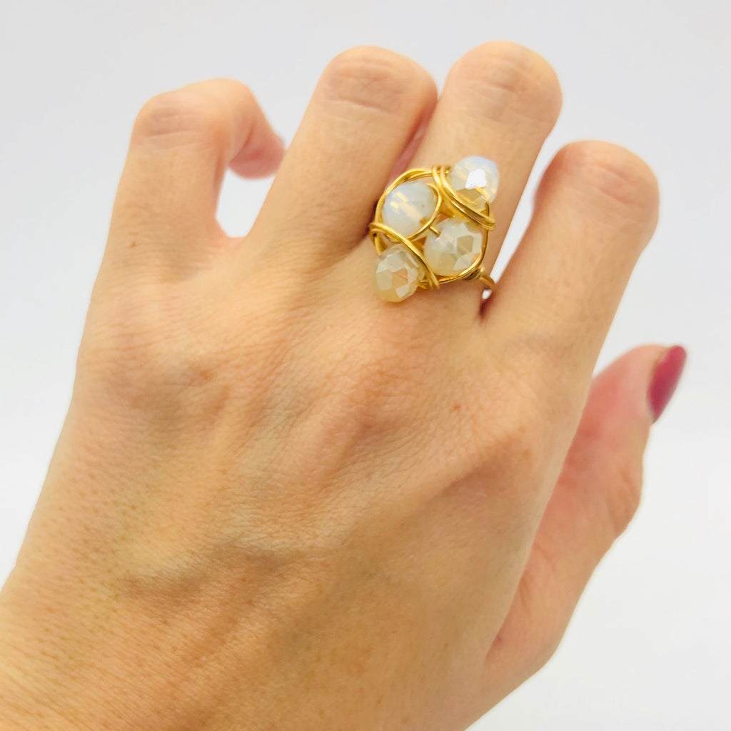 Milky white cluster ring