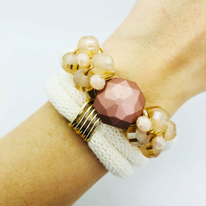 Cream & pink toned wrapover bracelet