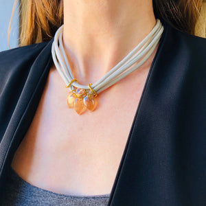 Peachy Petal trio choker glass  necklace