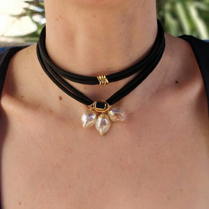 Light yellowish glass  trio petal necklace