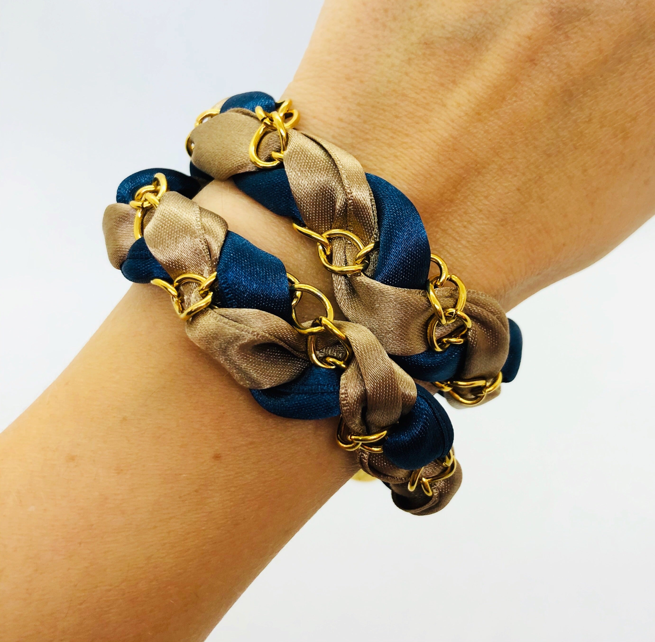 Satin Ribbon wrap over bracelet