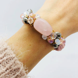 Rose quartz & crystal toned bracelet