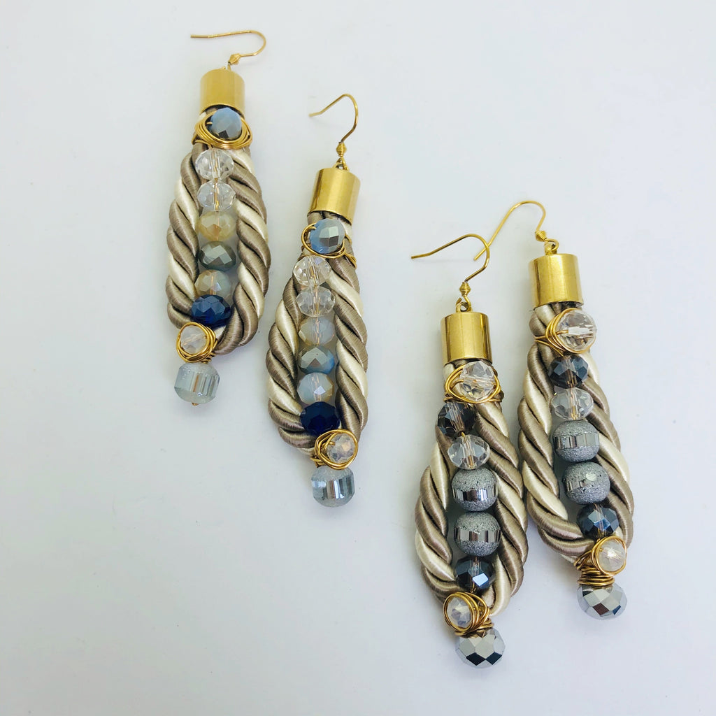 Two tone rope earrings