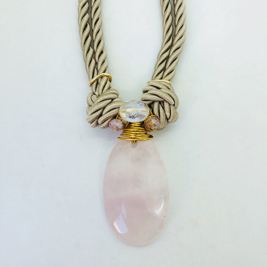 Rose quartz & neutral toned necklace
