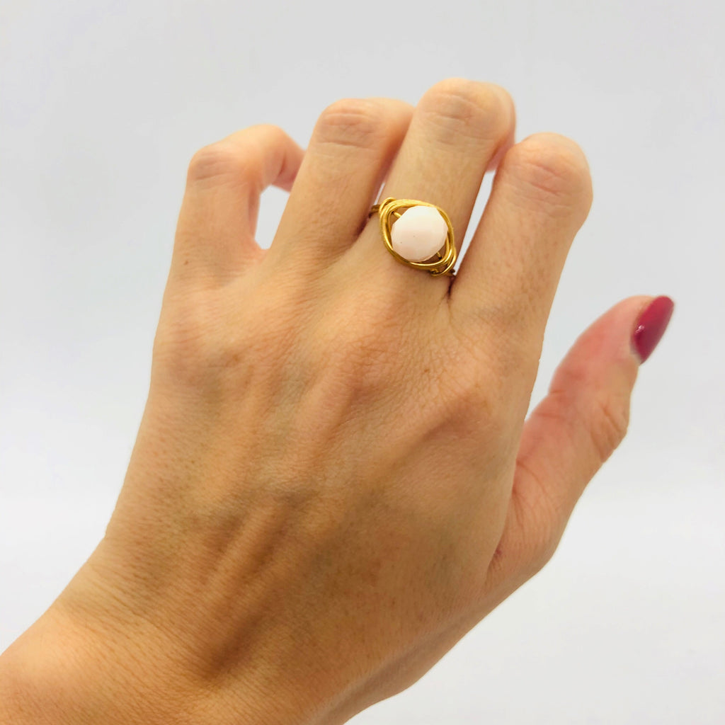 Light peach single bead ring