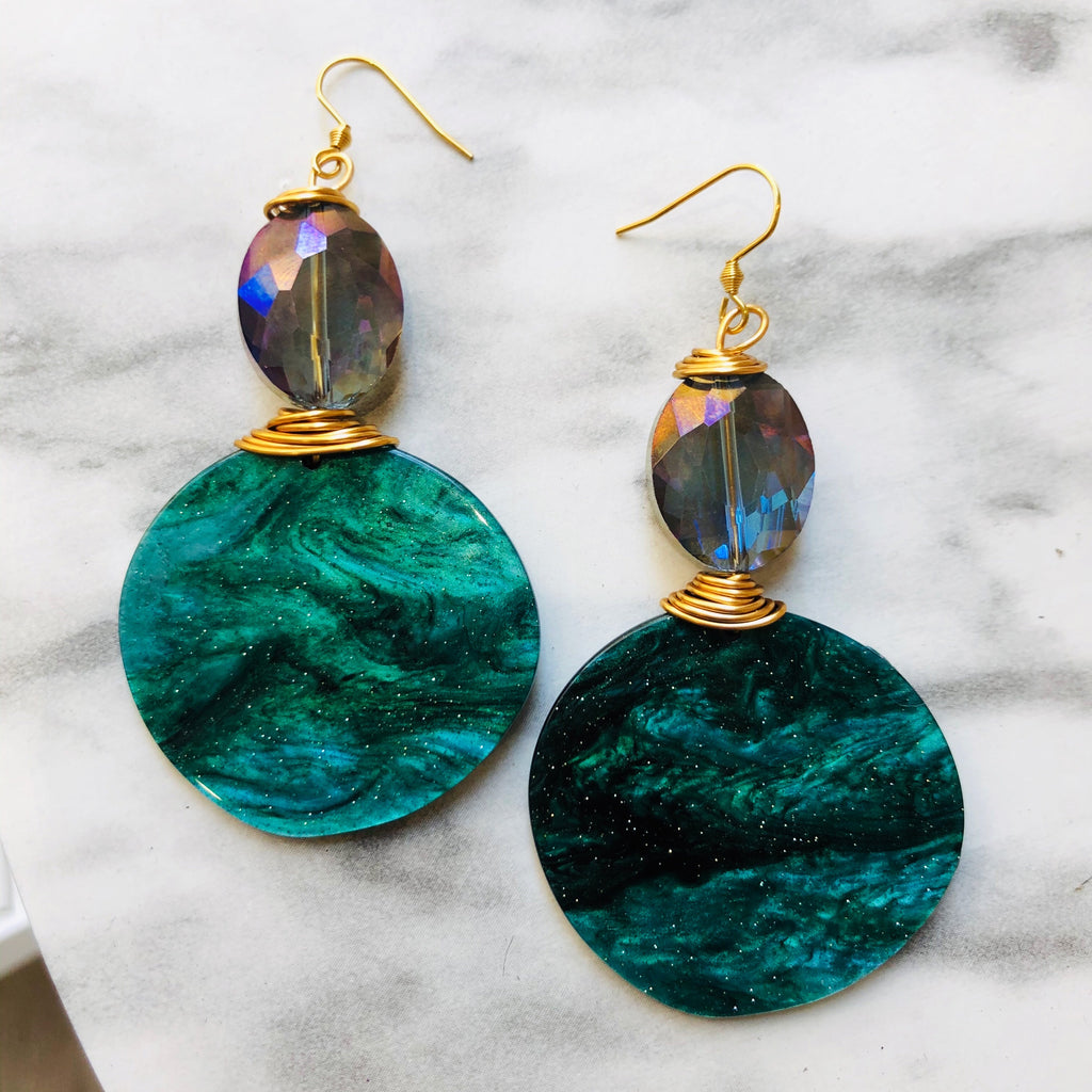 Teal & purple toned statement earrings