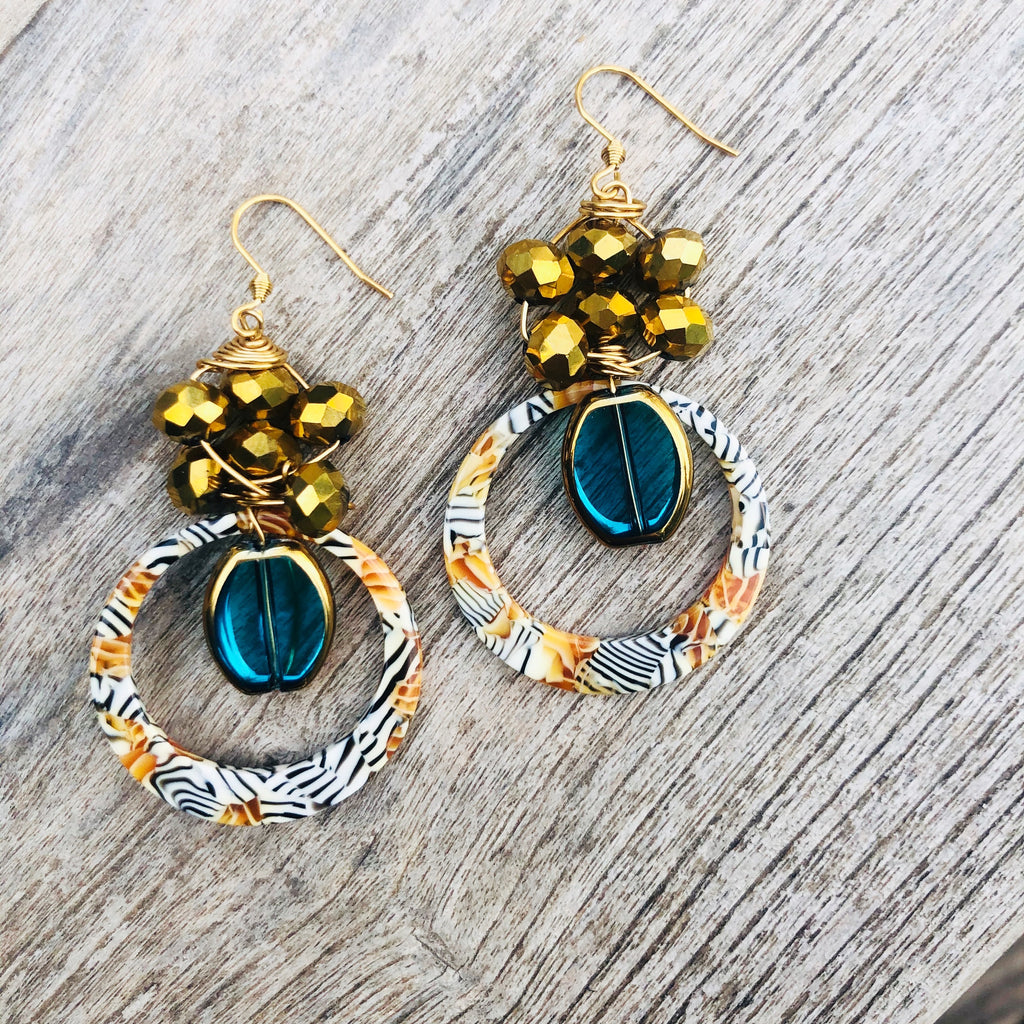 Yellow patterned & blue toned earrings