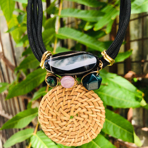 Black agate & Rattan necklace