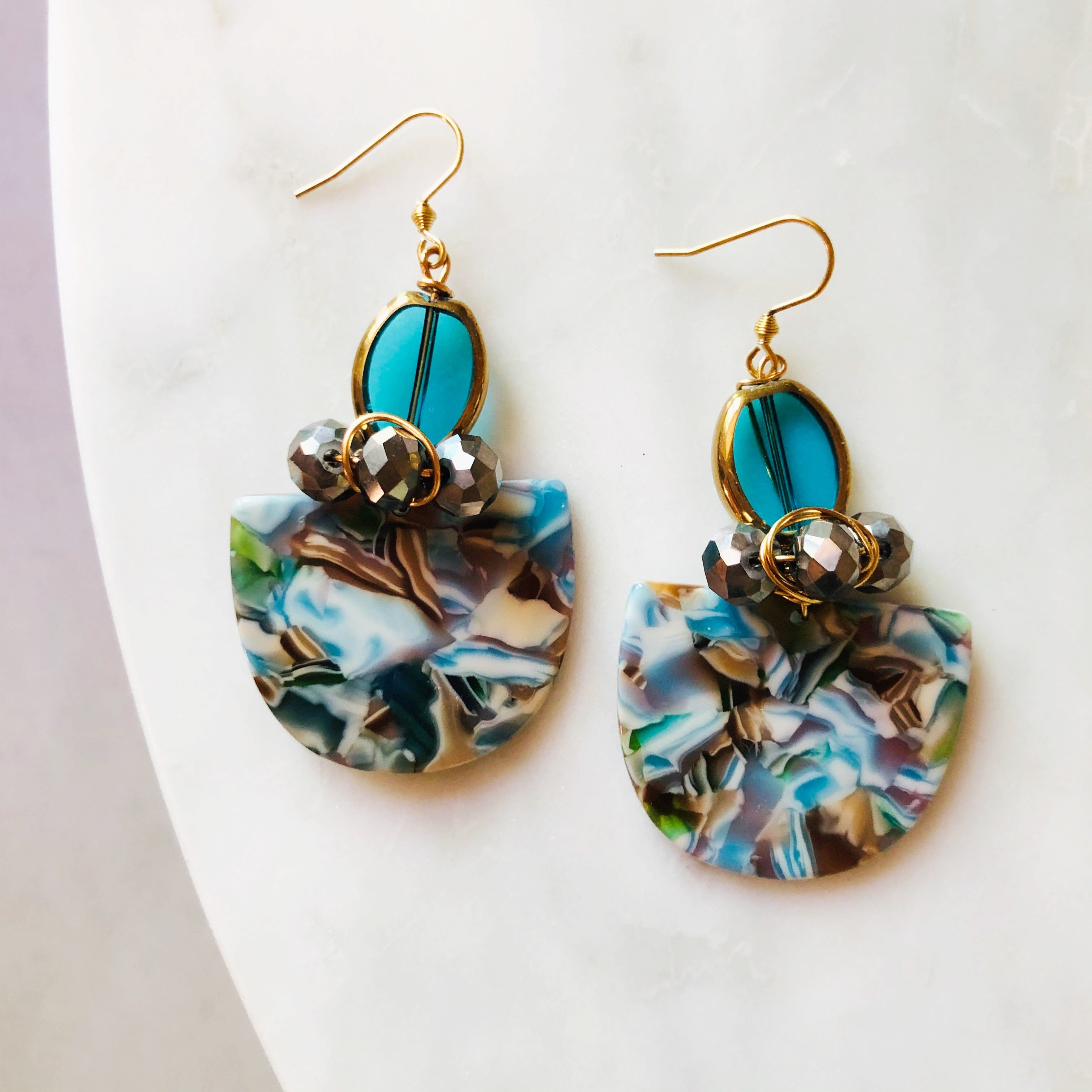 Shades of Blue pattered statement earrings