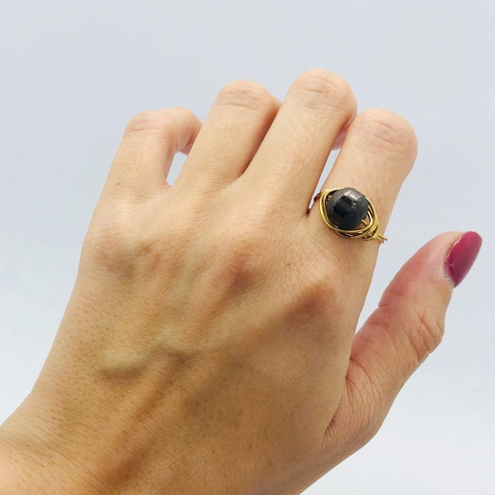 Black dusty simple ring
