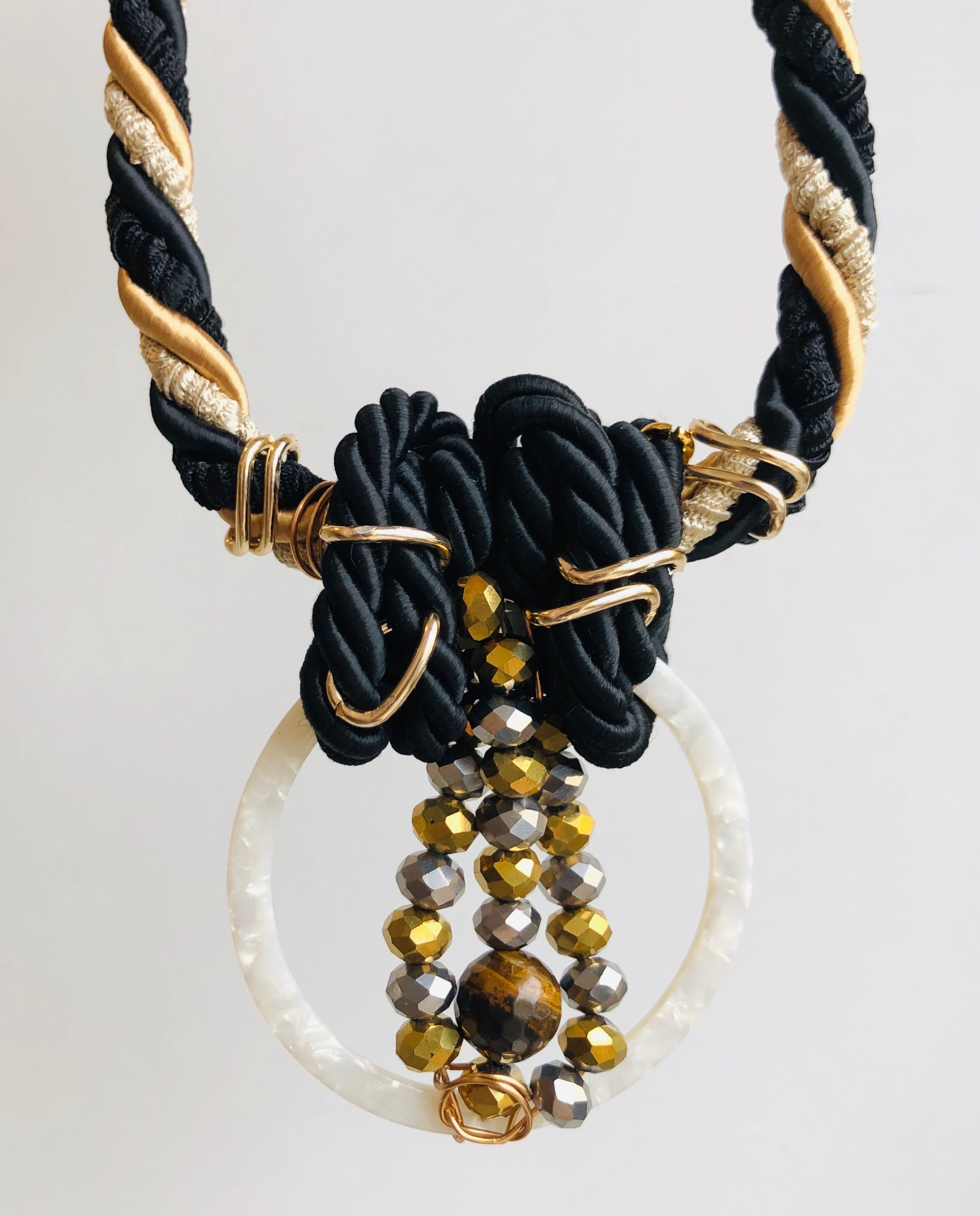 Black & Gold loop statement necklace