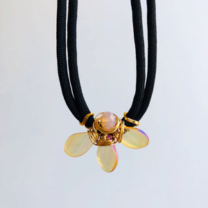 Translucent glass petal choker