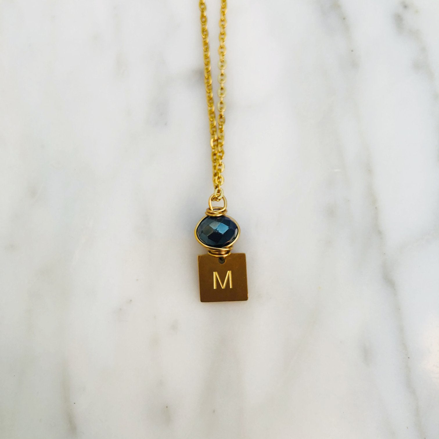 'M' initial chain necklace