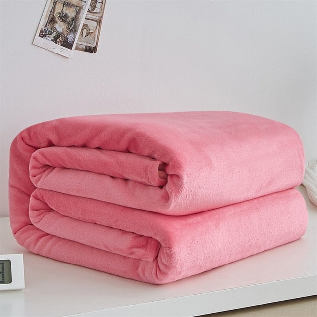 Soft Warm Coral Fleece Light Thin Mechanical Wash Flannel Blankets - Shop at Easy.