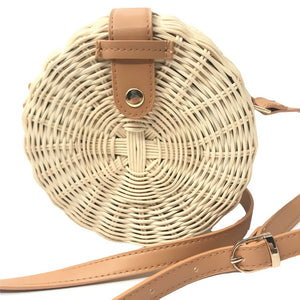 Women Summer Rattan Bag Handmade Woven Beach Circle Bohemia Handbag - Shop at Easy.