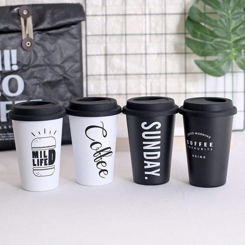 Coffee Mugs Stainless Steel With Lid Straws 450ml - Shop at Easy.