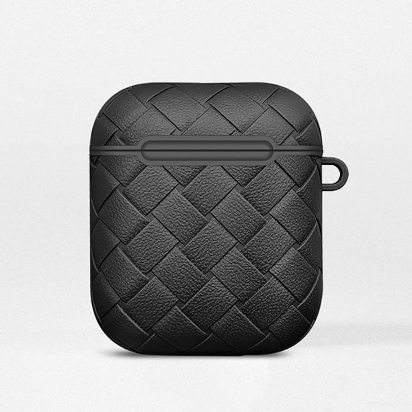 Black Leather Weave AirPods Case