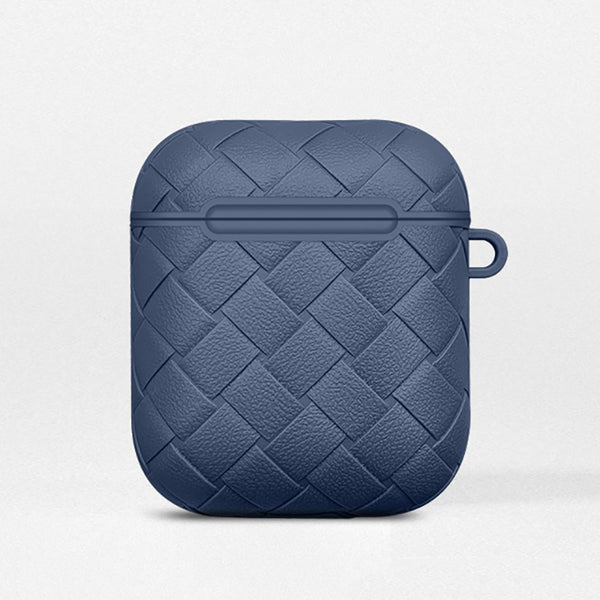 Navy Leather Weave AirPods Case
